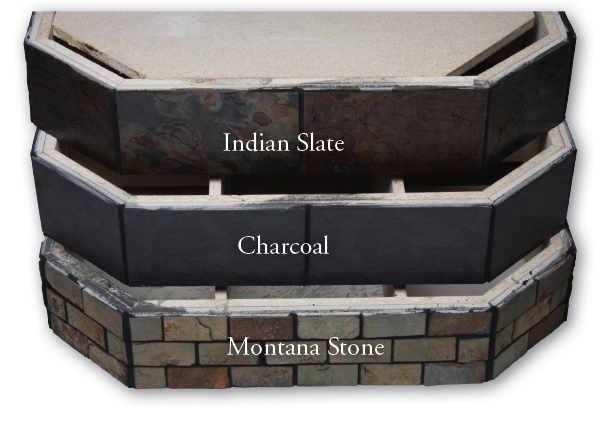 Indian Slate, Charcoal, and Montana Stone Pedestals